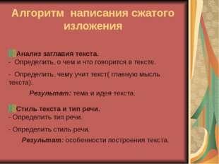 Федорова О.Г. МКОУ Октябрьская ООШ Алгоритм написания сжатого изложения Анали