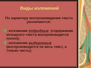 Федорова О.Г. МКОУ Октябрьская ООШ Виды изложений По характеру воспроизведени