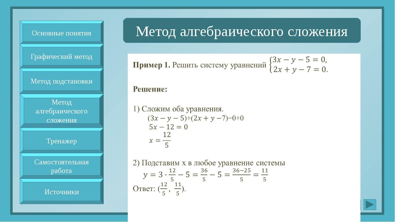 Метод алгебраического сложения Основные понятия Метод подстановки Метод алге...