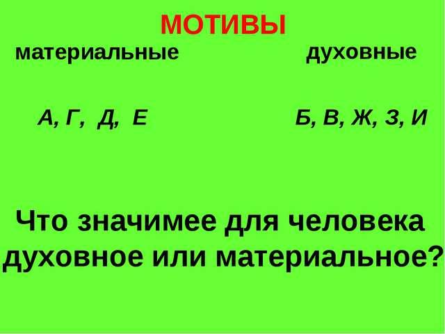 МОТИВЫ материальные духовные А, Г, Д, Е Б, В, Ж, З, И Что значимее для челове...