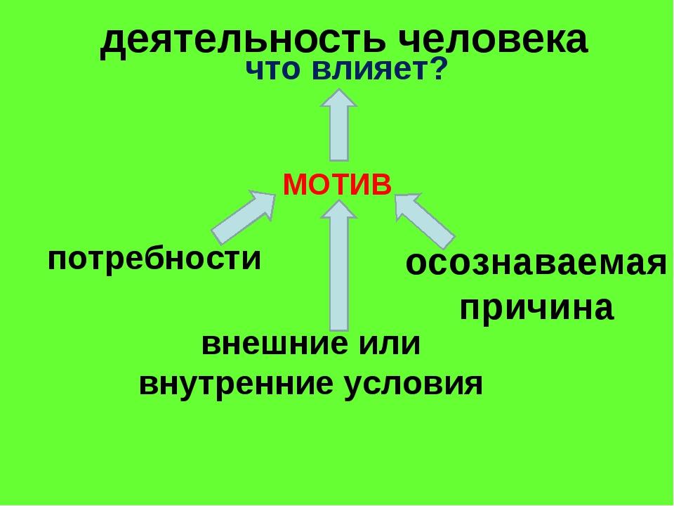 деятельность человека МОТИВ потребности внешние или внутренние условия осозн...