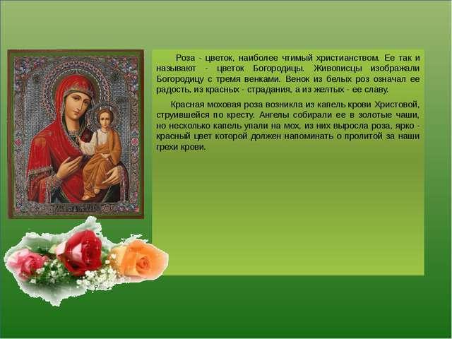 Роза - цветок, наиболее чтимый христианством. Ее так и называют - цветок Бог...