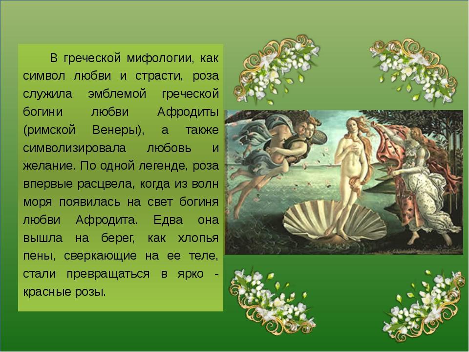 В греческой мифологии, как символ любви и страсти, роза служила эмблемой гре...