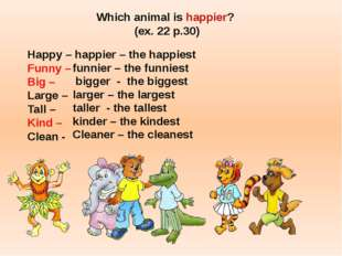 Which animal is happier? (ex. 22 p.30) Happy – happier – the happiest Funny –