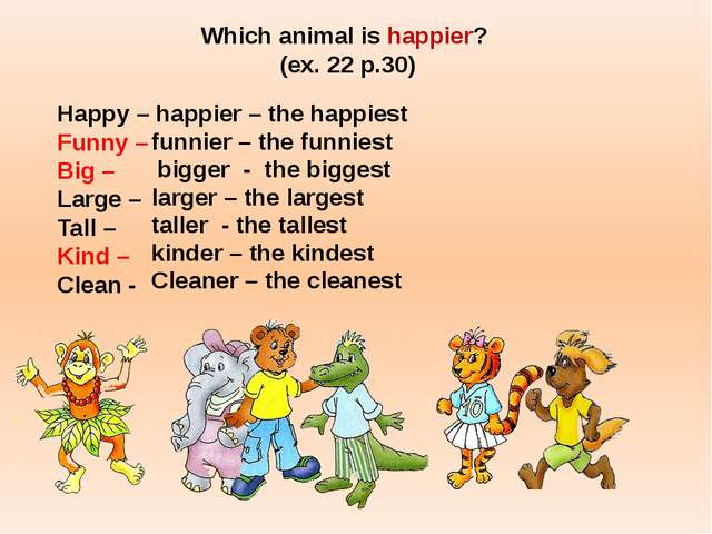 Which animal is happier? (ex. 22 p.30) Happy – happier – the happiest Funny –...
