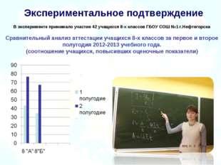 Экспериментальное подтверждение В эксперименте принимало участие 42 учащихся