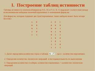 I. Построение таблиц истинности Таблица истинности логической формулы F(A, B)