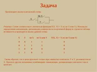 Задача Произведите анализ контактной схемы. X Не X У Решение. Схеме соответст