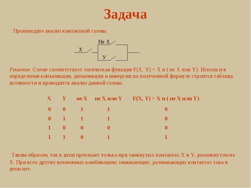 Задача Произведите анализ контактной схемы. X Не X У Решение. Схеме соответст...