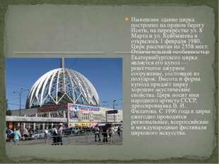 Нынешнее здание цирка построено на правом берегу Исети, на перекрёстке ул. 8
