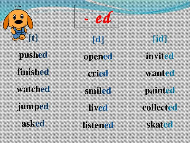 - ed [t] pushed finished watched jumped asked [d] opened cried smiled lived l...