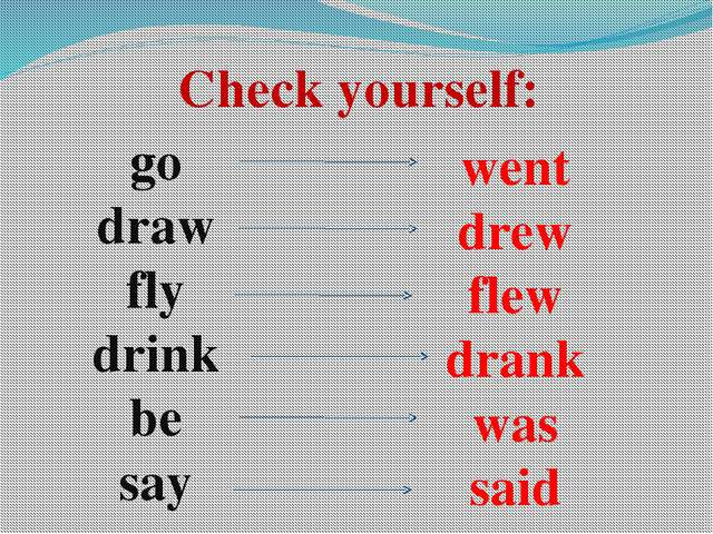Check yourself: go draw fly drink be say went drew flew drank was said
