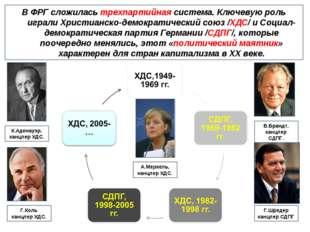 В ФРГ сложилась трехпартийная система. Ключевую роль играли Христианско-демок