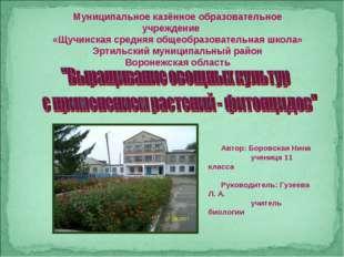 Муниципальное казённое образовательное учреждение «Щучинская средняя общеобра