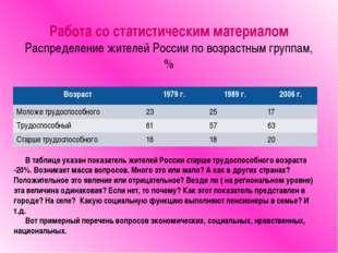 Работа со статистическим материалом Распределение жителей России по возрастны