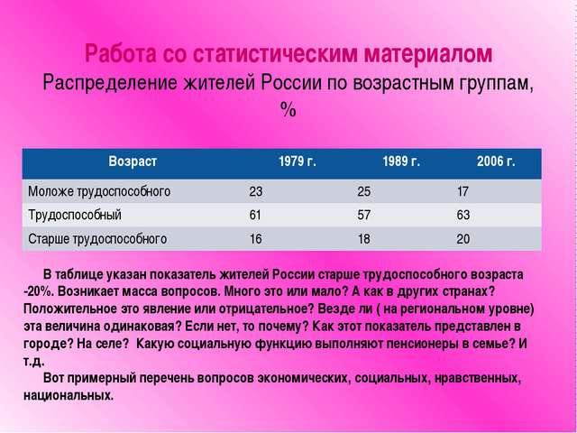 Работа со статистическим материалом Распределение жителей России по возрастны...