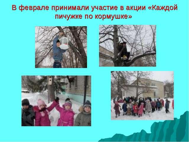 В феврале принимали участие в акции «Каждой пичужке по кормушке»