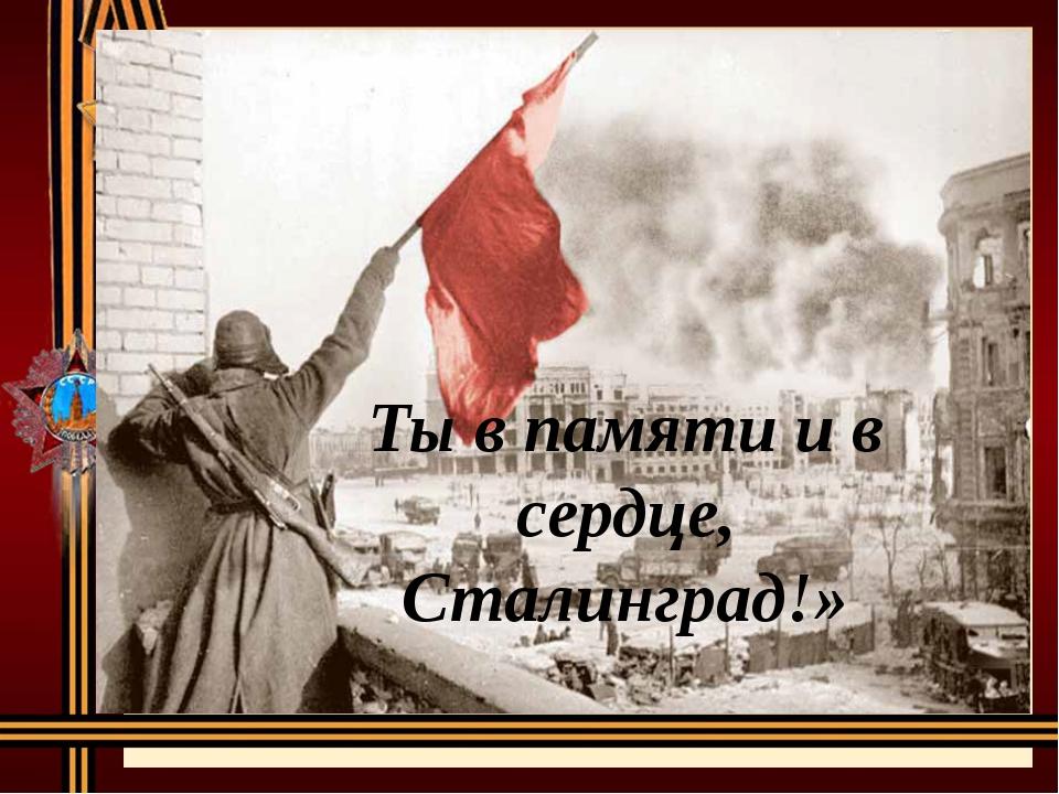 Ты в памяти и в сердце, Сталинград!»