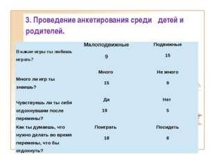 3. Проведение анкетирования среди детей и родителей. В какие игры ты любишь и