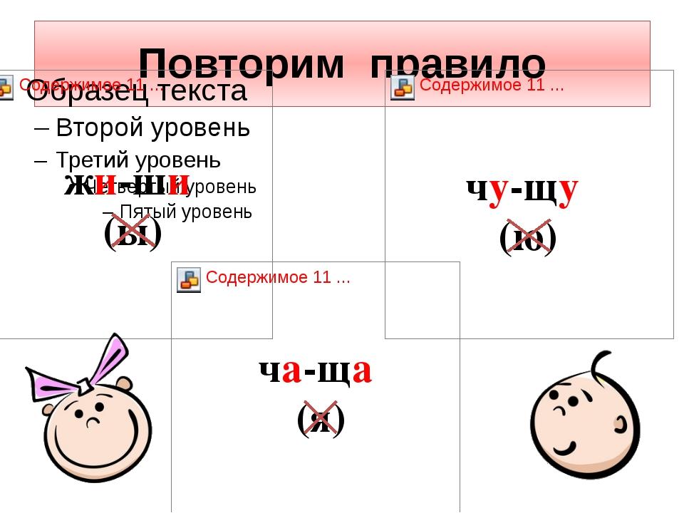 Повторим правило жи-ши (ы) чу-щу (ю) ча-ща (я)