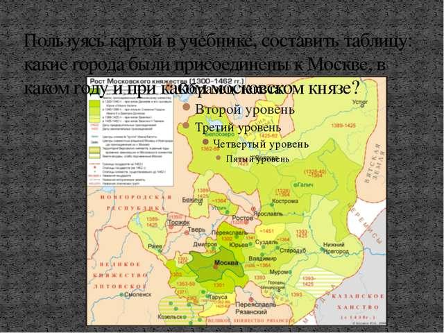 Пользуясь картой в учебнике, составить таблицу: какие города были присоединен...