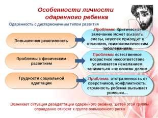Одаренность с дисгармоничным типом развития Особенности личности одаренного р