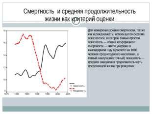 Смертность и средняя продолжительность жизни как критерий оценки Для измерени