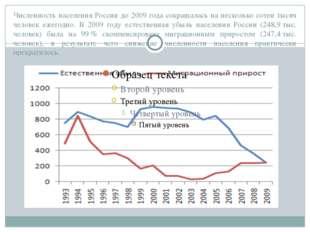 Численность населения России до 2009 года сокращалась на несколько сотен тыся