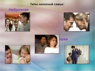 Типы неполной семьи: Небрачная Распавшаяся Осиротевшая Отцовская Материнская