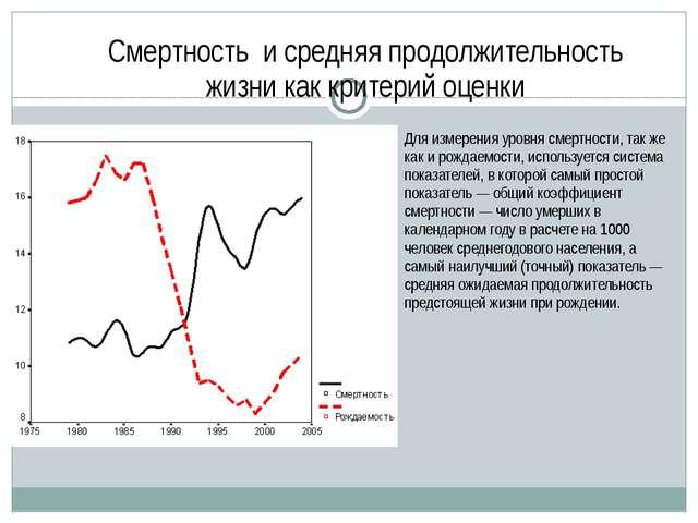 Смертность и средняя продолжительность жизни как критерий оценки Для измерени...