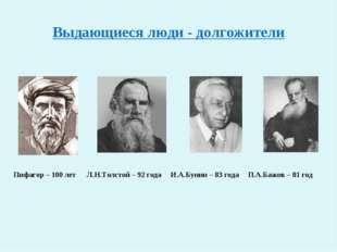 Выдающиеся люди - долгожители Пифагор – 100 лет Л.Н.Толстой – 92 года И.А.Бун