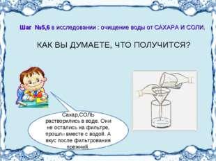 КАК ВЫ ДУМАЕТЕ, ЧТО ПОЛУЧИТСЯ? Шаг №5,6 в исследовании : очищение воды от СА