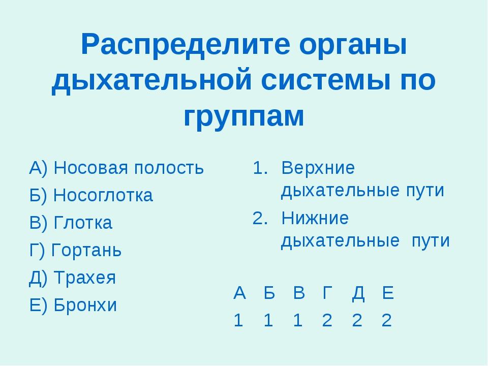 Распределите органы дыхательной системы по группам А) Носовая полость Б) Носо...