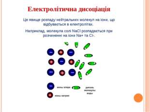 Електролітична дисоціація Це явище розпаду нейтральних молекул на іони, що ві