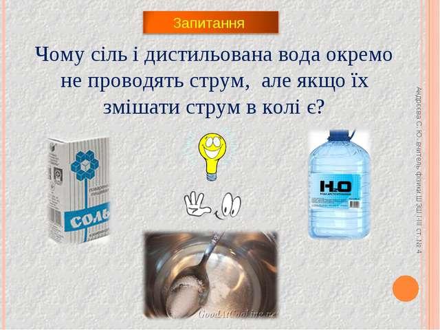 Андрєєва С. Ю. вчитель фізики ШЗШ І-ІІІ ст. № 4 Чому сіль і дистильована вода...