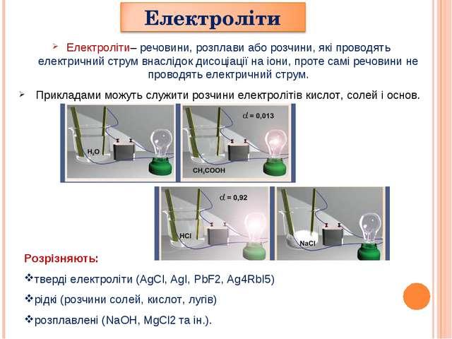 Електроліти– речовини, розплави або розчини, які проводять електричний струм...