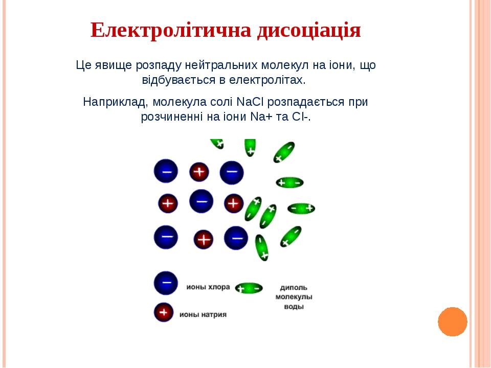 Електролітична дисоціація Це явище розпаду нейтральних молекул на іони, що ві...