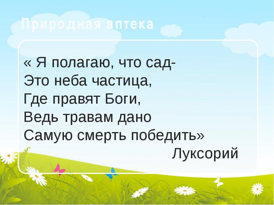 Природная аптека « Я полагаю, что сад- Это неба частица, Где правят Боги, Вед...
