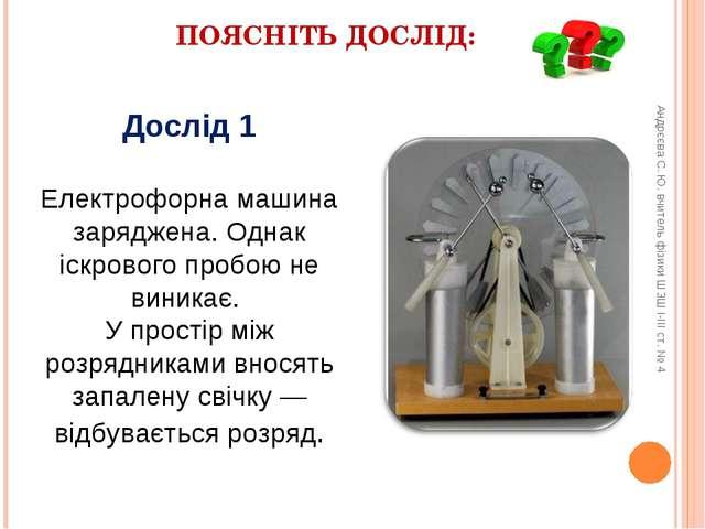 ПОЯСНІТЬ ДОСЛІД: Дослід 1 Електрофорна машина заряджена. Однак іскрового проб...