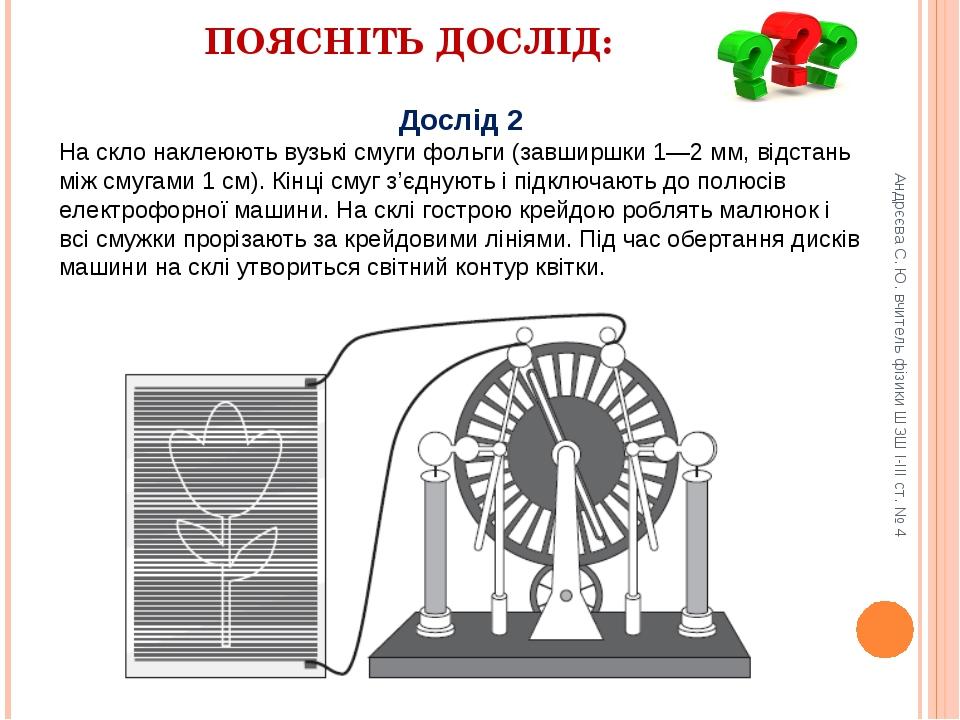ПОЯСНІТЬ ДОСЛІД: Дослід 2 На скло наклеюють вузькі смуги фольги (завширшки 1—...