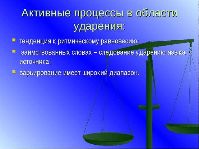 Активные процессы в области ударения: тенденция к ритмическому равновесию; за...