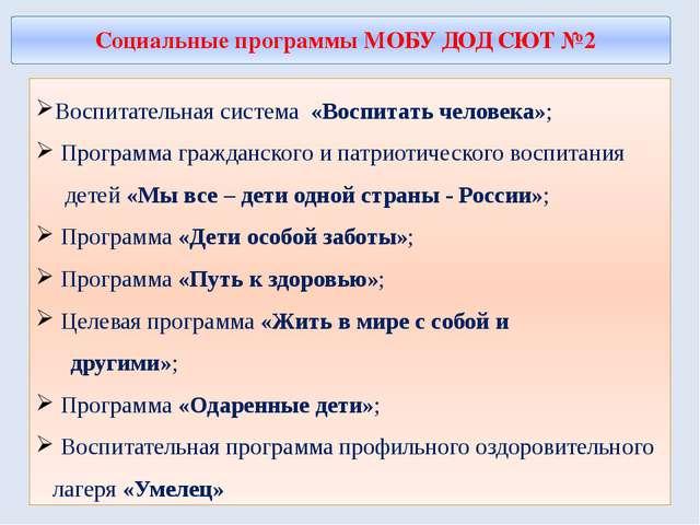Социальные программы МОБУ ДОД СЮТ №2 Воспитательная система «Воспитать челов...