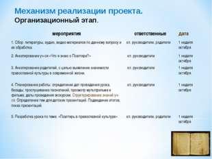 Механизм реализации проекта. Организационный этап. мероприятияответственные