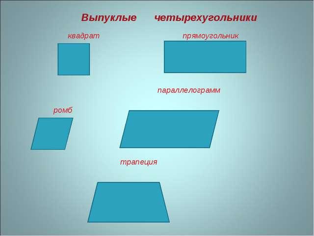 Выпуклые четырехугольники квадрат прямоугольник ромб параллелограмм трапеция