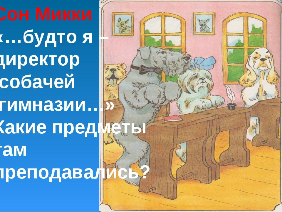 Сон Микки «…будто я – директор собачей гимназии…» Какие предметы там преподав...