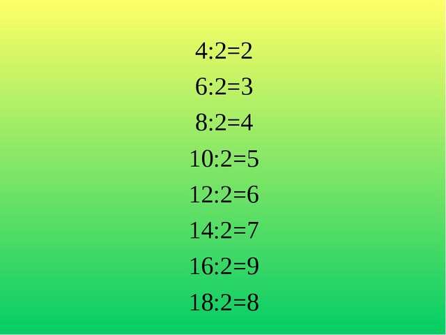 4:2=2 6:2=3 8:2=4 10:2=5 12:2=6 14:2=7 16:2=9 18:2=8