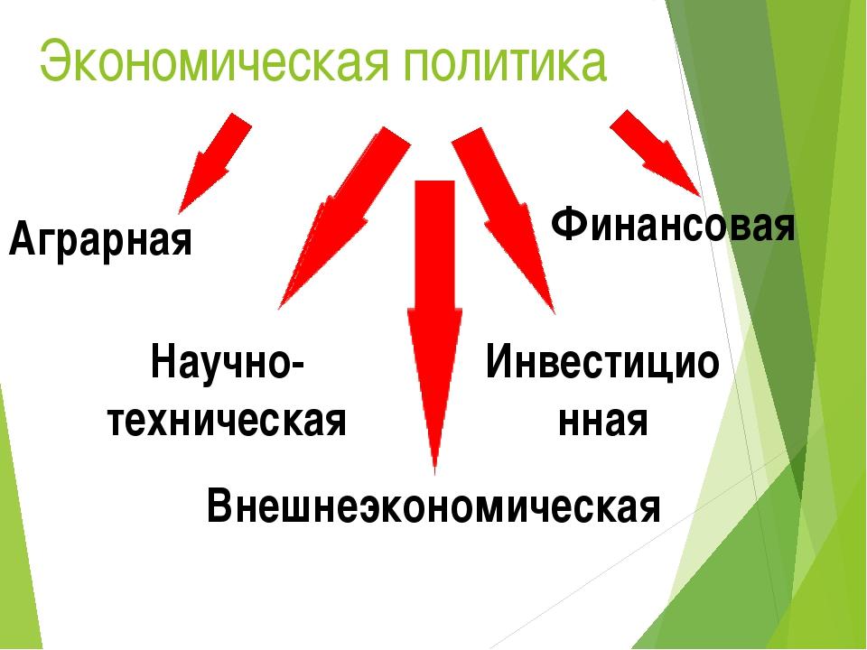 Экономическая политика Финансовая Инвестиционная Аграрная Научно-техническая...