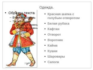 Одежда. Красная шапка с голубым отворотом Белая рубаха Кафтан Отворот Воротни