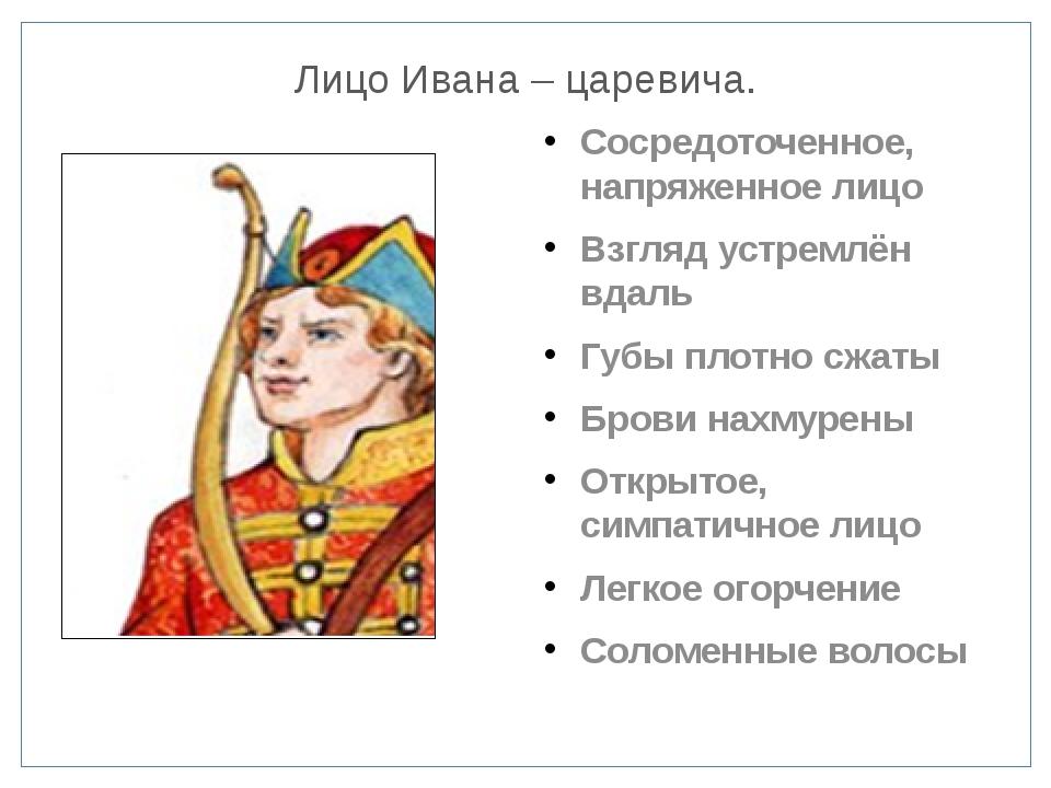 Лицо Ивана – царевича. Сосредоточенное, напряженное лицо Взгляд устремлён вда...