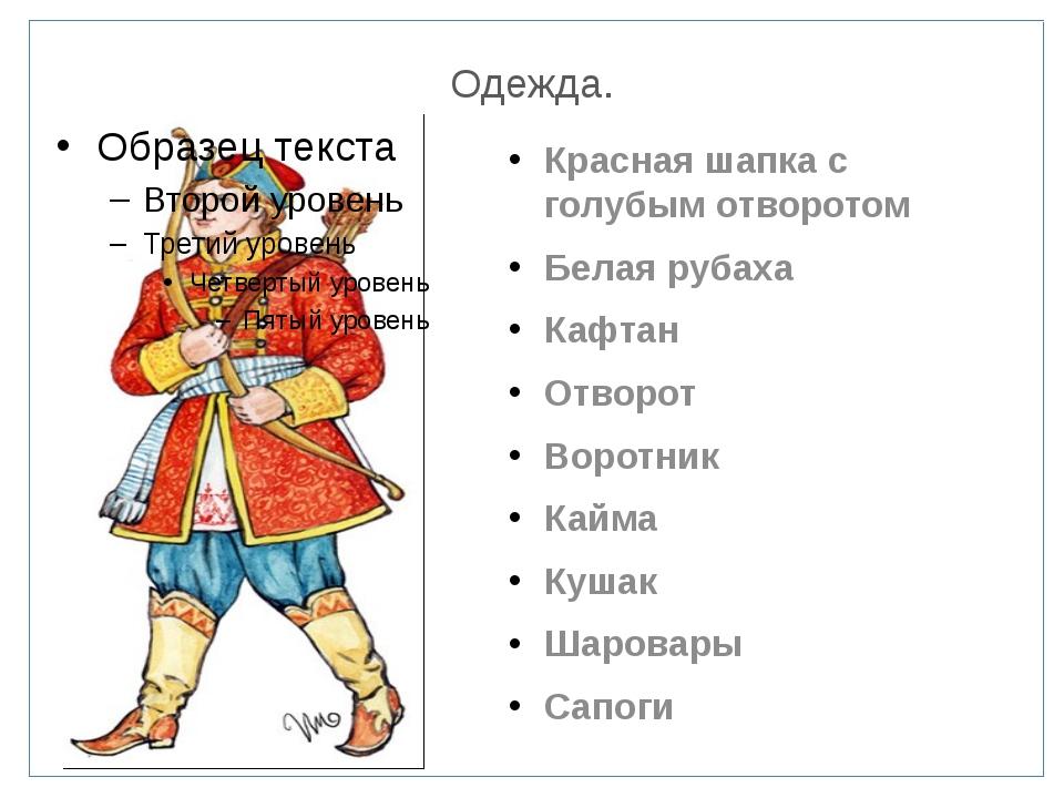 Одежда. Красная шапка с голубым отворотом Белая рубаха Кафтан Отворот Воротни...